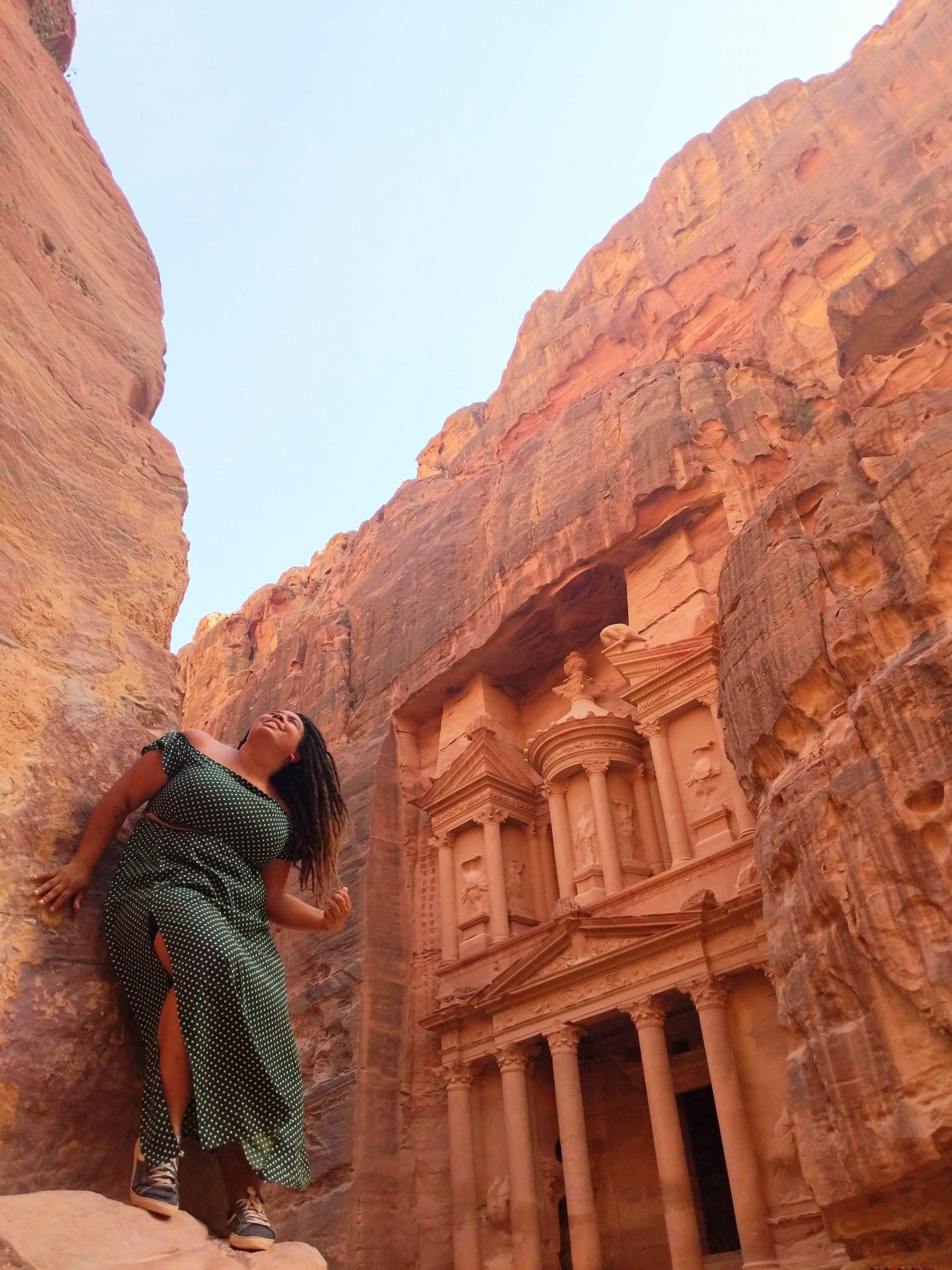 Samantha O'Brochta at The Treasury in Petra, Jordan